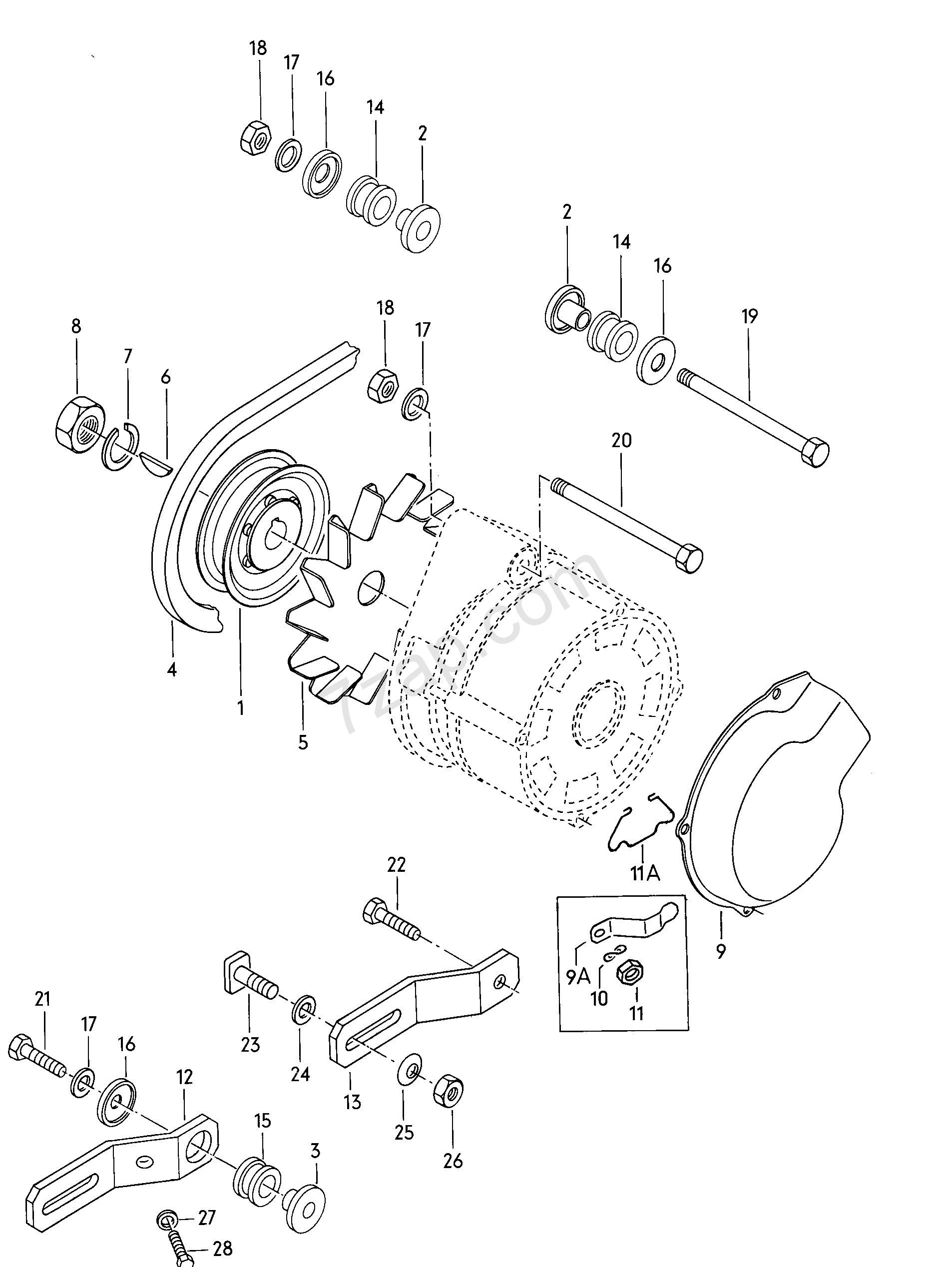 connecting and mounting parts for alternator - Polo/Derby/Vento-IND(PO)  [EUROPA 1976 year]