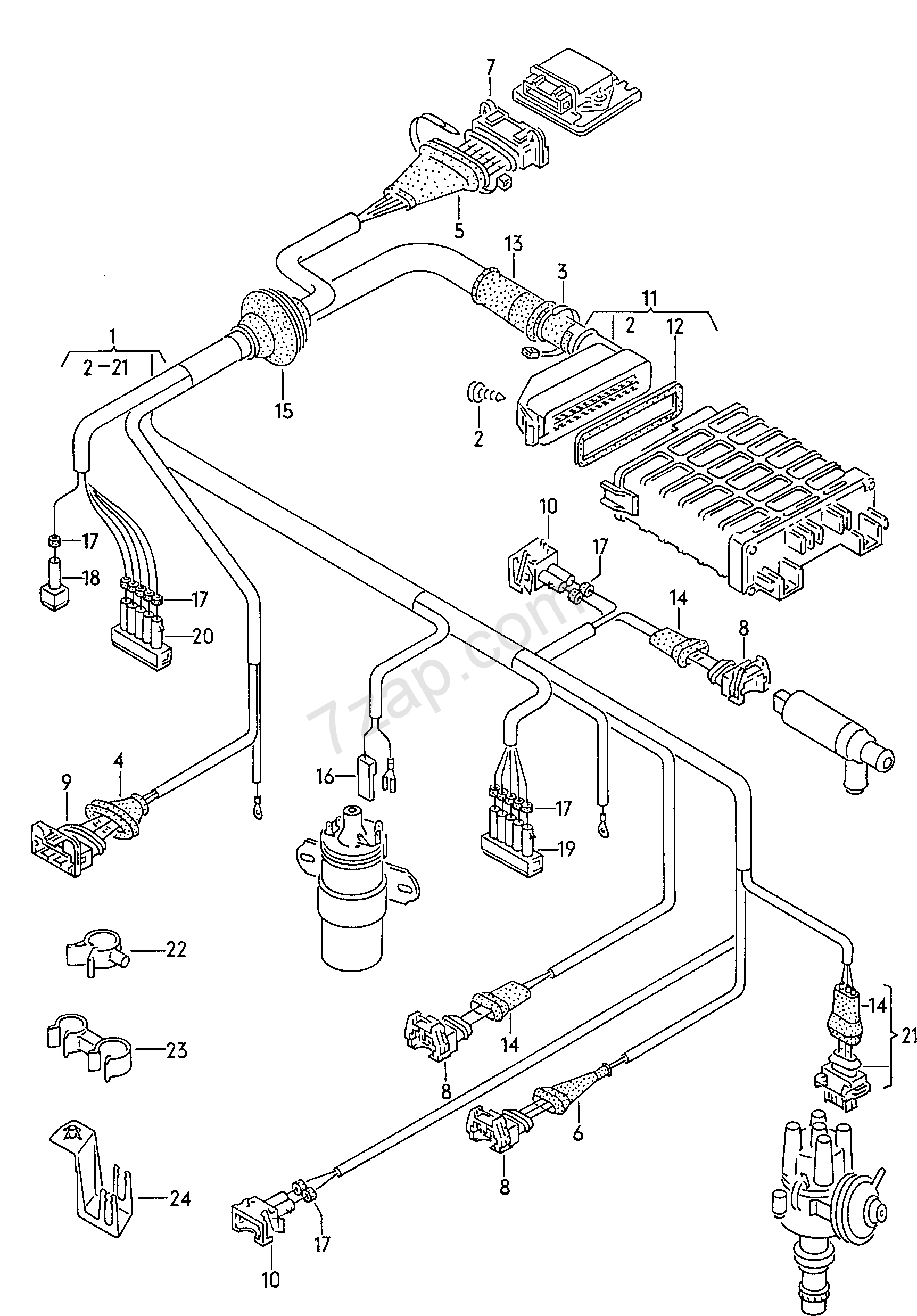 Wiring Harness For Transistorized Ignition System Golf Cabriolet 1991 Vw Diagrams Cabrioletgoc Europa Year