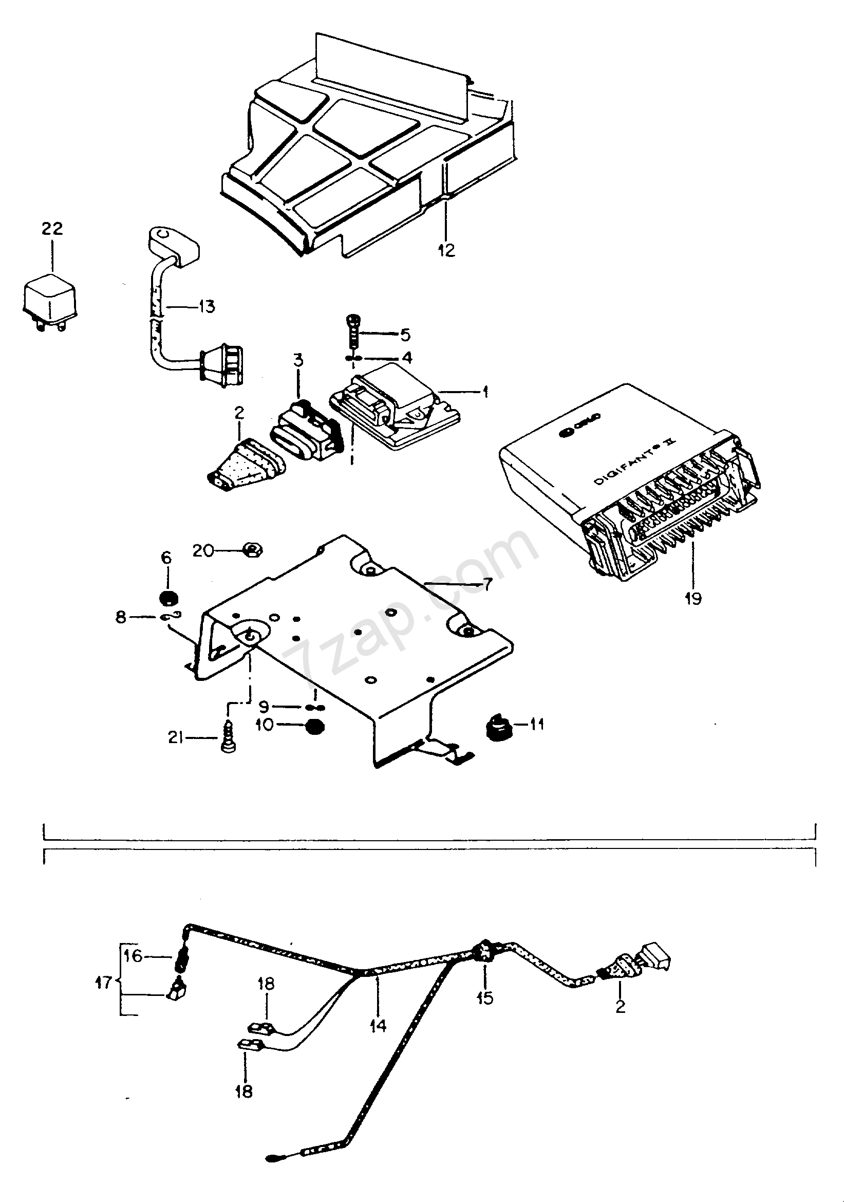 switch unit \'tci\'; knock sensor; wiring harness fo... Golf (GO) 1989 ...
