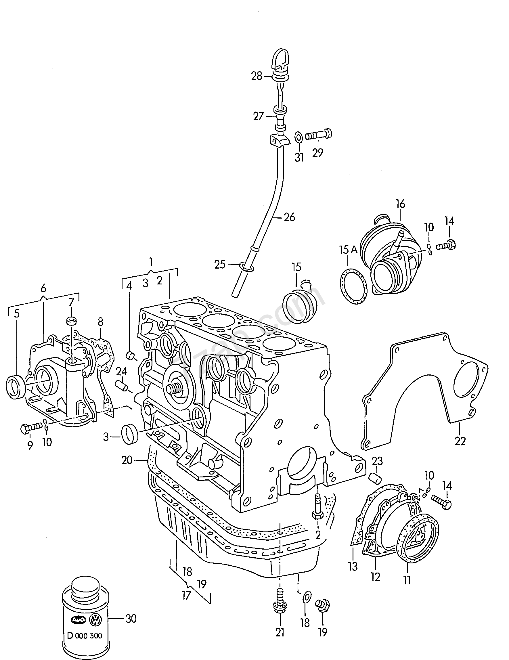 Cylinder Block With Pistons Oil Sump Polo Derby Vento Ind Po 1992 Vw Engine Piston Diagram Indpo Europa Year