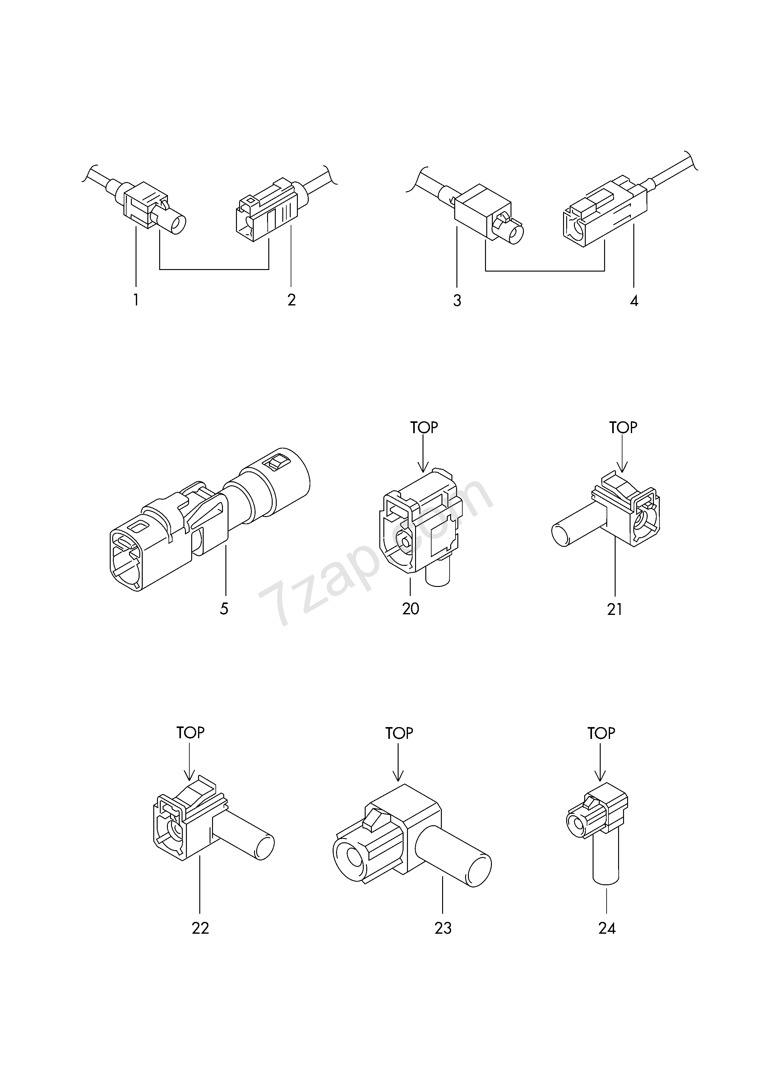connector housing for aerial wire; see parts bull... Elekt.Verbind ...