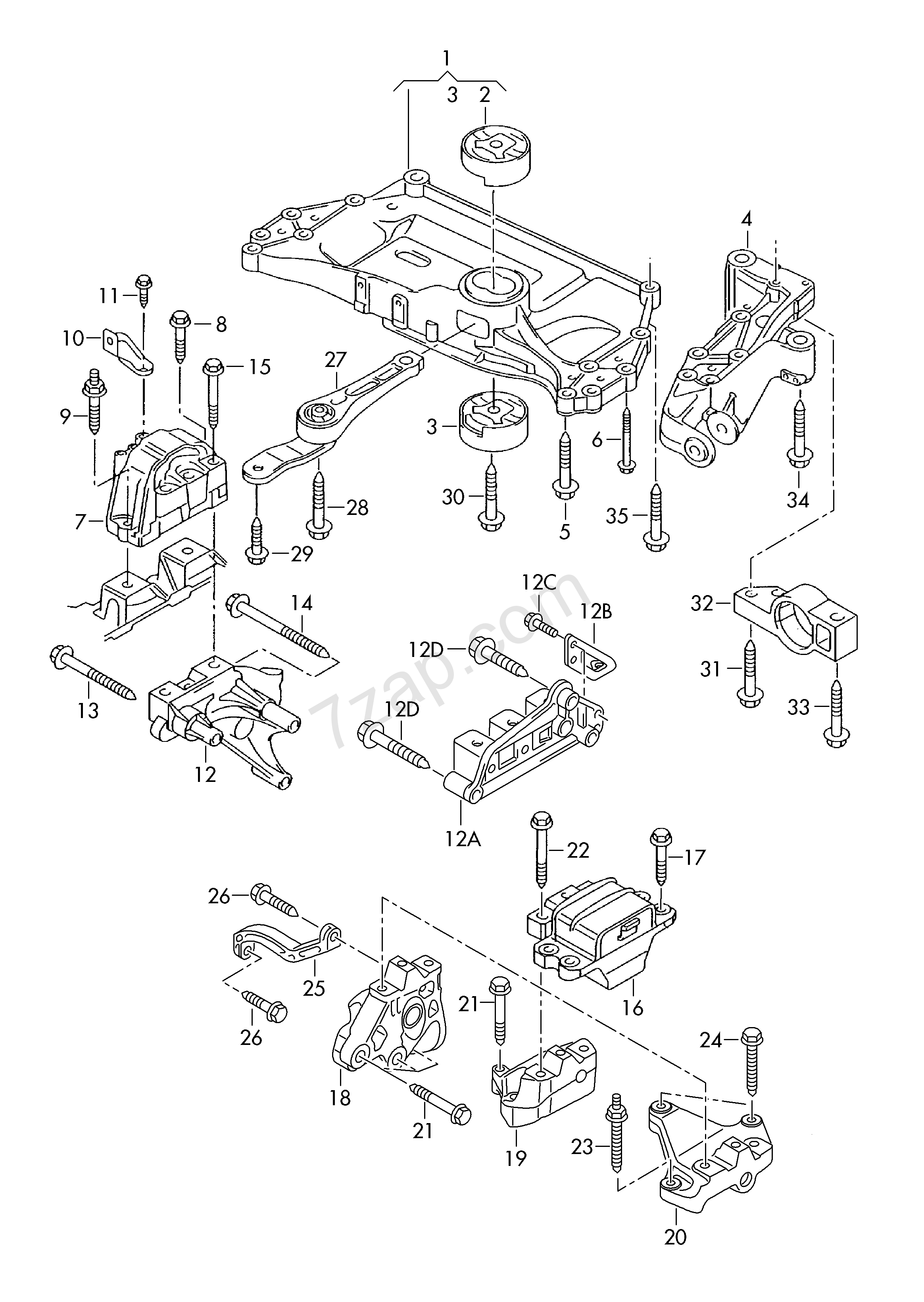 vw engine mount diagram wiring library  mounting parts for engine and transmission touran tou europa 2014 year