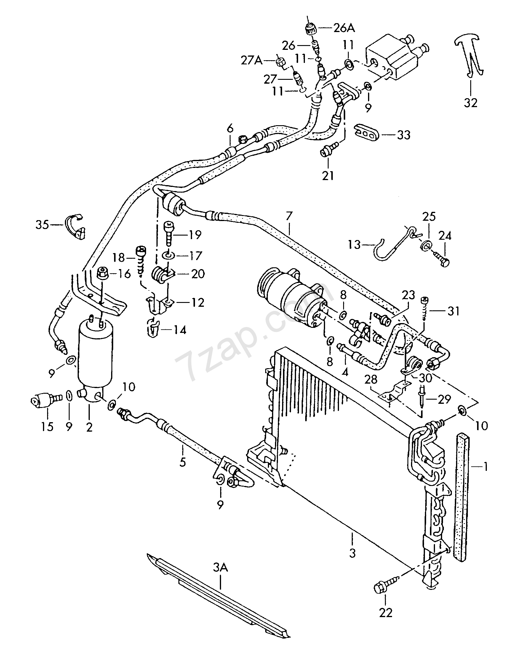 Volkswagen Parts Usa: A/c Condenser; Fluid Container With Connecting Pa... Golf
