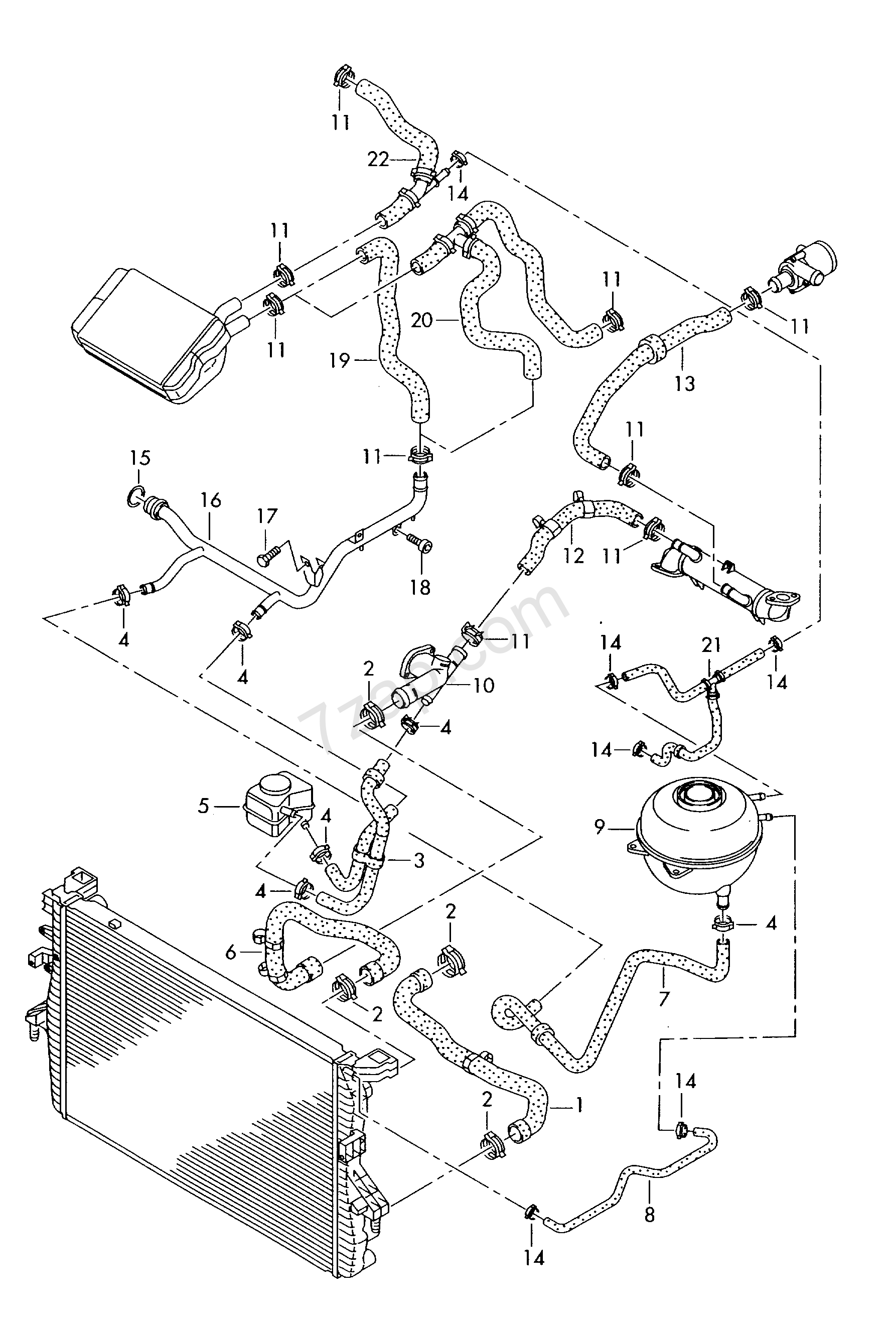 coolant cooling system  with  without  auxiliary he