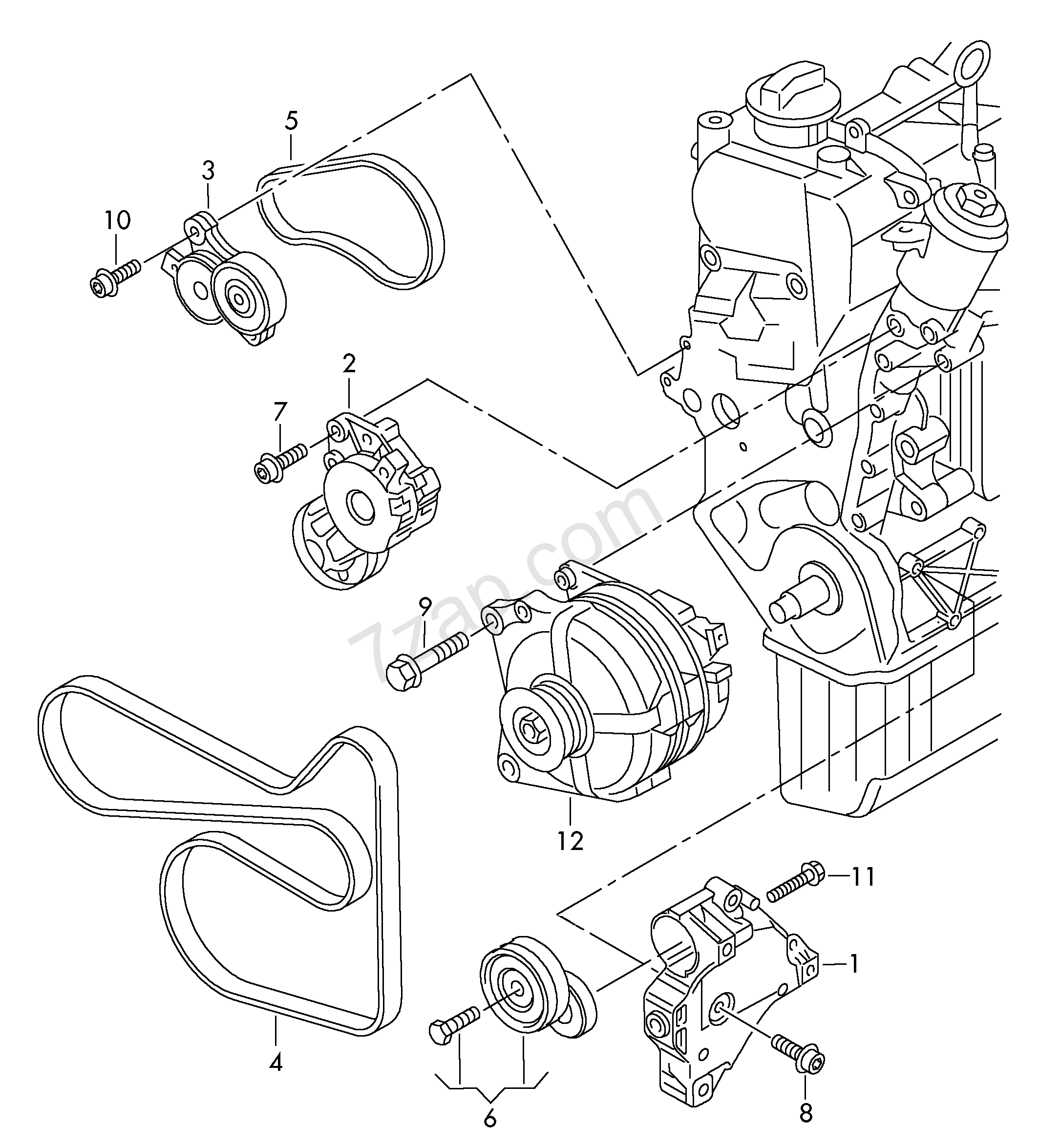 Volkswagen Parts Usa: Connecting And Mounting Parts For Alternator; Pol... CC