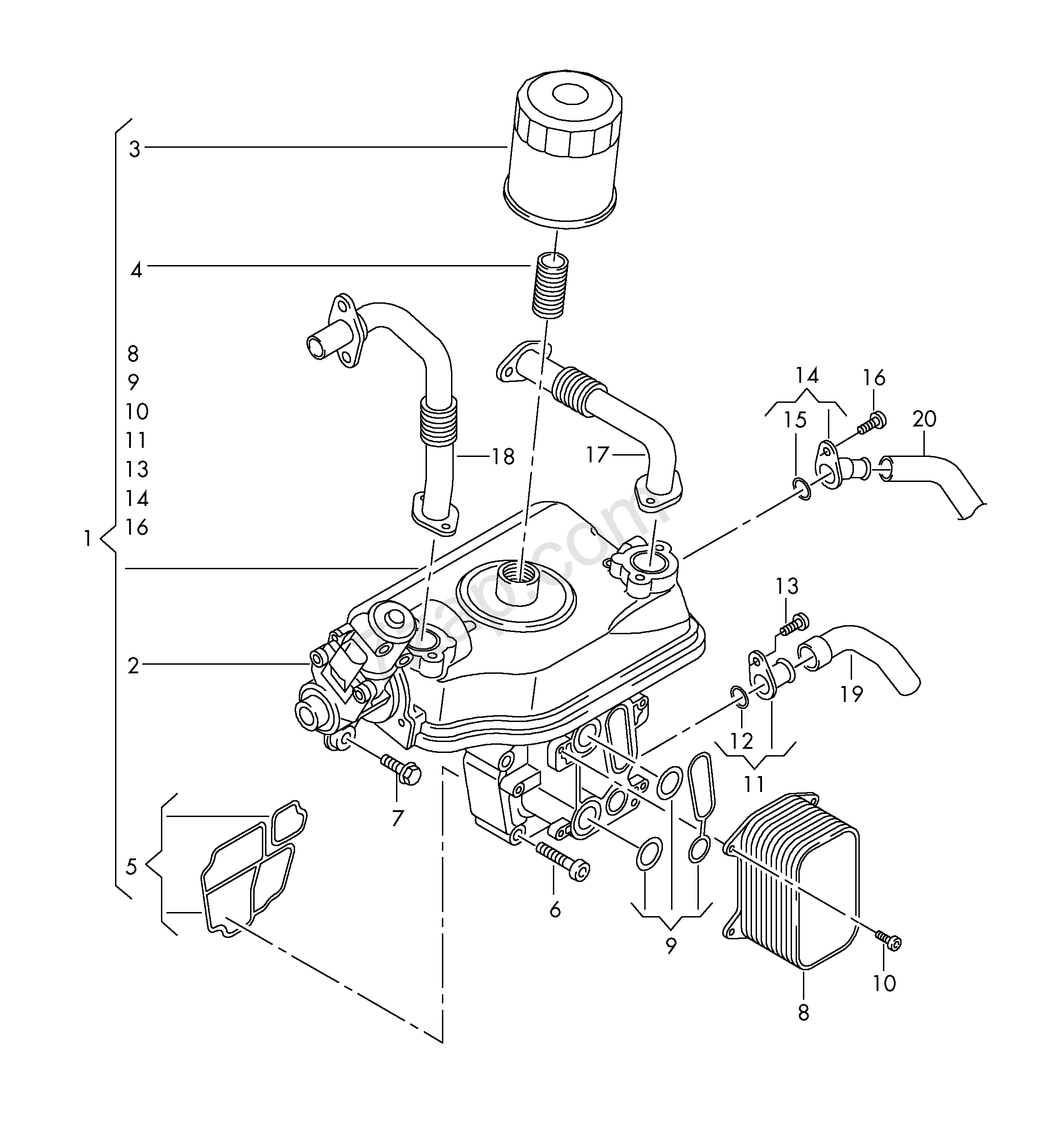 oil filter bracket with radiator for exh  recuper