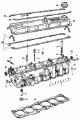 cylinder head<br/>cylinder head gasket<br/>cylinder head cover<br/>valve guide